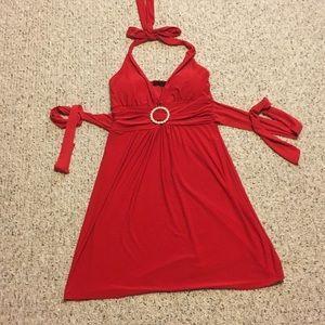 Red halter dress vintage 90's